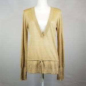 ⭐ Theory V-neck Linen and Silk Sweater